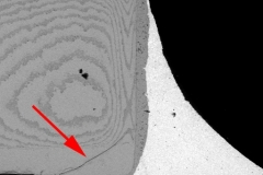 Flexure crack in an MLCC.
