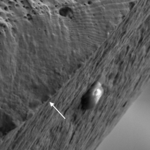 Fatigue striations on the fracture surface of a stainless steel spring.