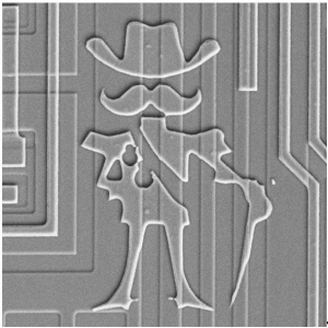 Marking on a transistor die.