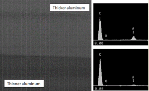 A thicker deposit of evaporated aluminum is applied to one edge of the film to withstand the thermal exposure during flame-spray termination of the capacitor layers during fabrication. The Al-peak is higher in EDS spectra of thicker aluminum deposit and can be used as a measure of aluminum thickness.